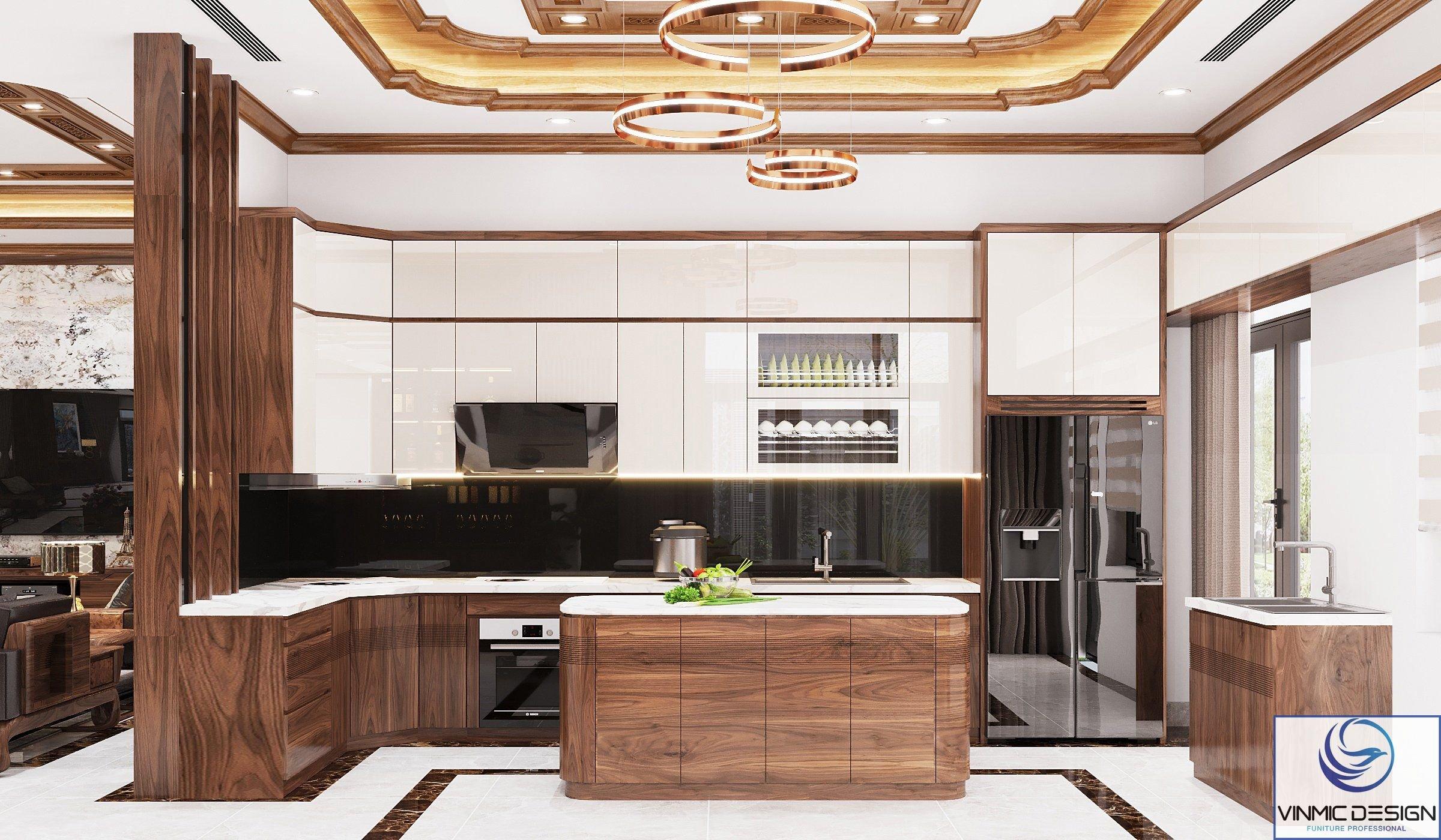 Không gian bếp ăn sang trọng của biệt thự hiện đại với cách phối màu ấn tượng
