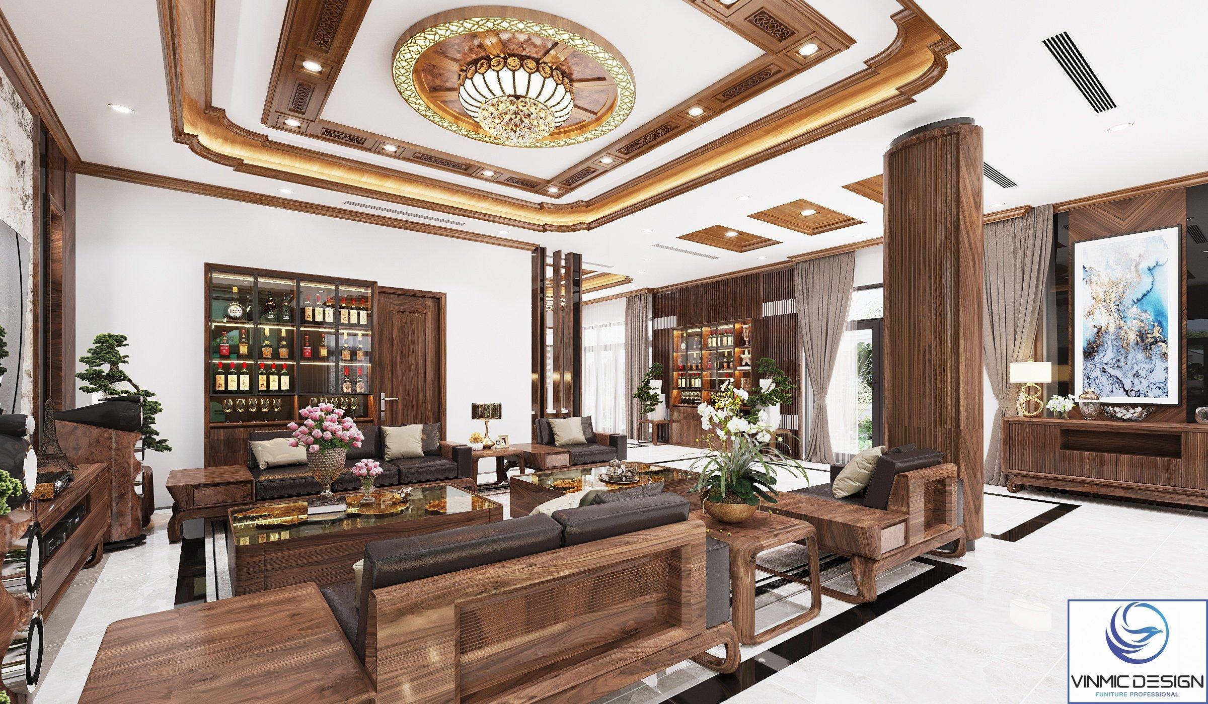 Phòng khách vô cùng hiện đại và sang chảnh với những đường nét, hòa trộn màu sắc tinh tế