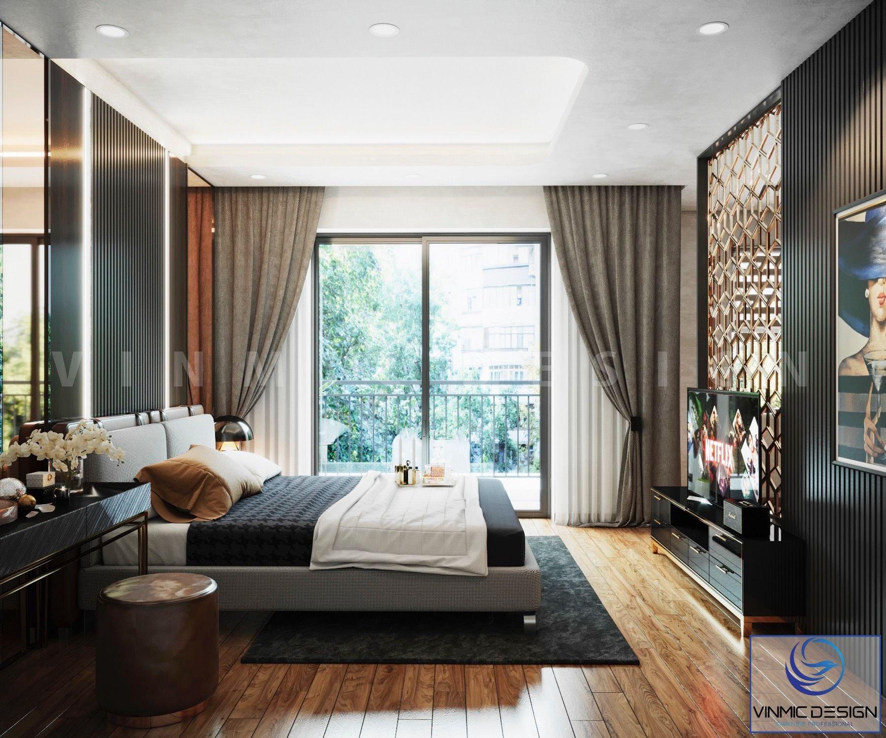 Logia rộng là một điểm cộng rất lớn đối với phòng ngủ.