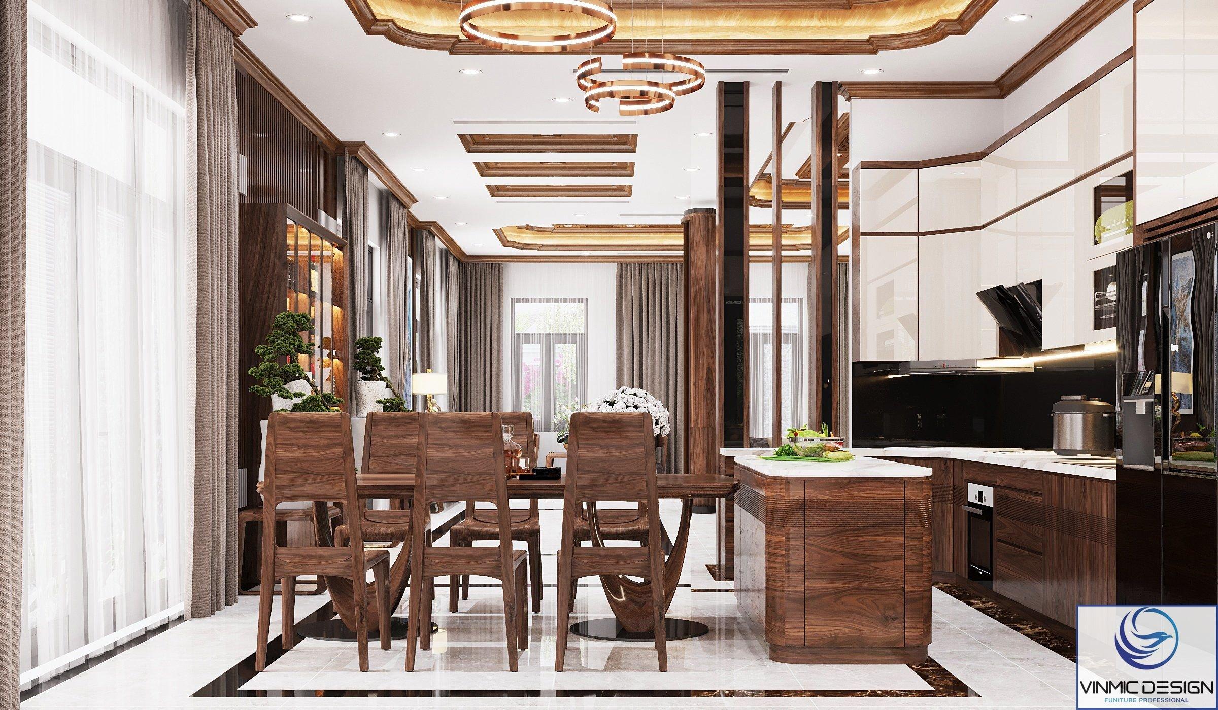 Nội thất gỗ luôn được ưu ái lựa chọn trong những phương án thiết kế phòng bếp ăn của biệt thự hiện đại