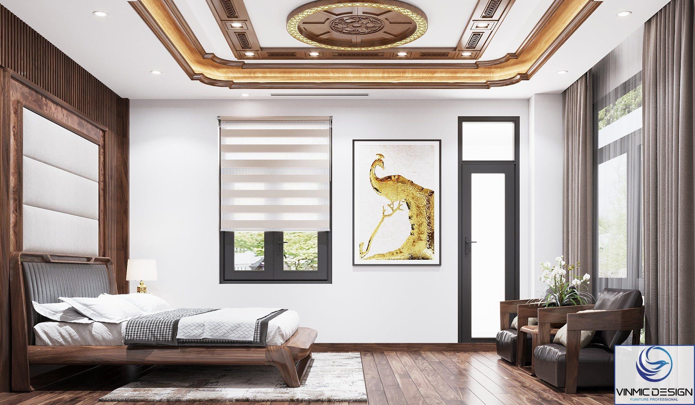 Không gian phòng ngủ được thiết kế theo phong cách hiện đại.
