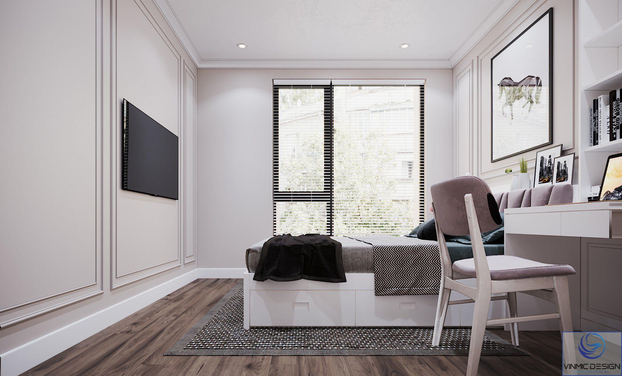Tivi treo tường tạo không gian rộng hơn.
