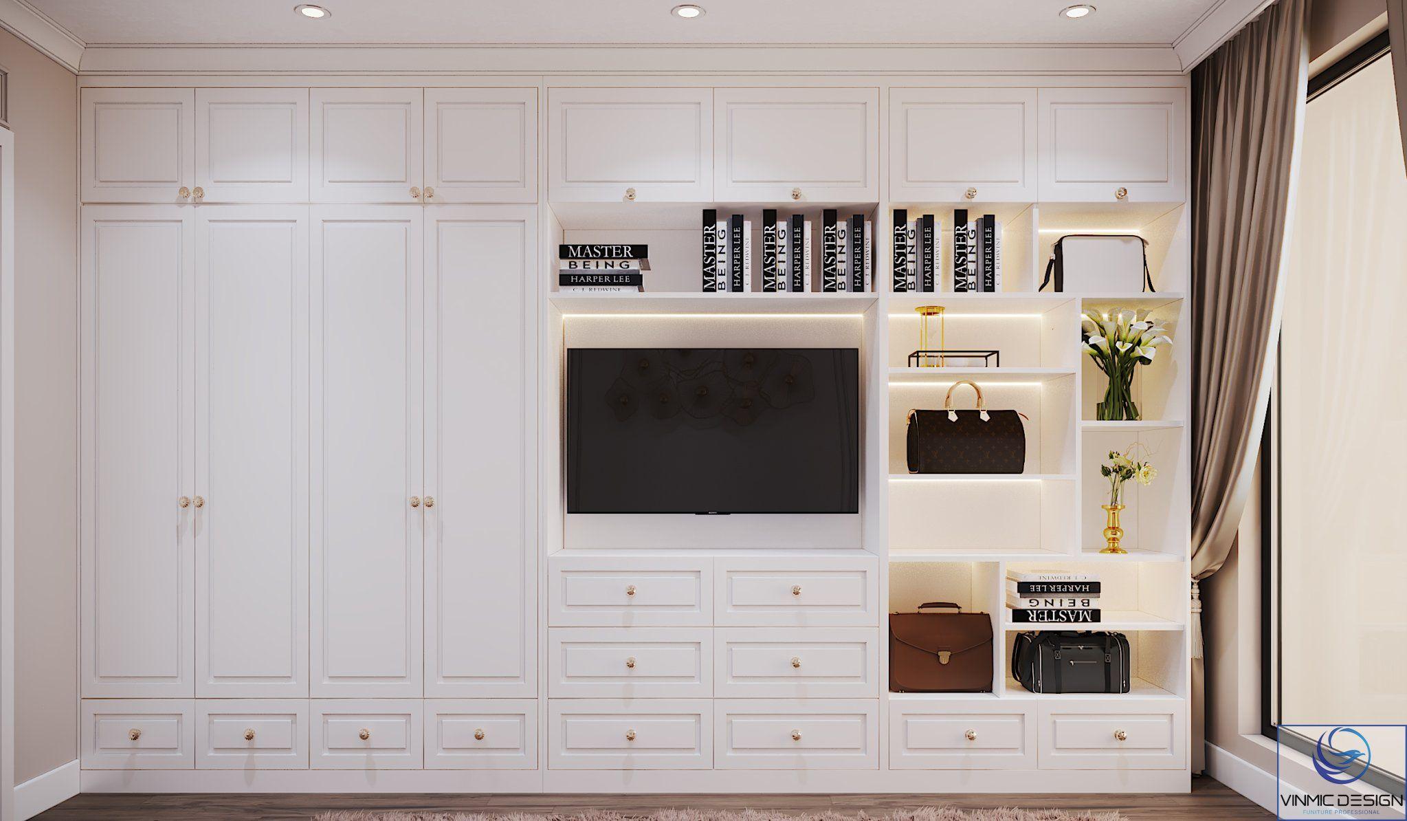 Tủ quần áo kết hợp tủ tivi kịch trần, tối ưu công năng cho phòng ngủ.