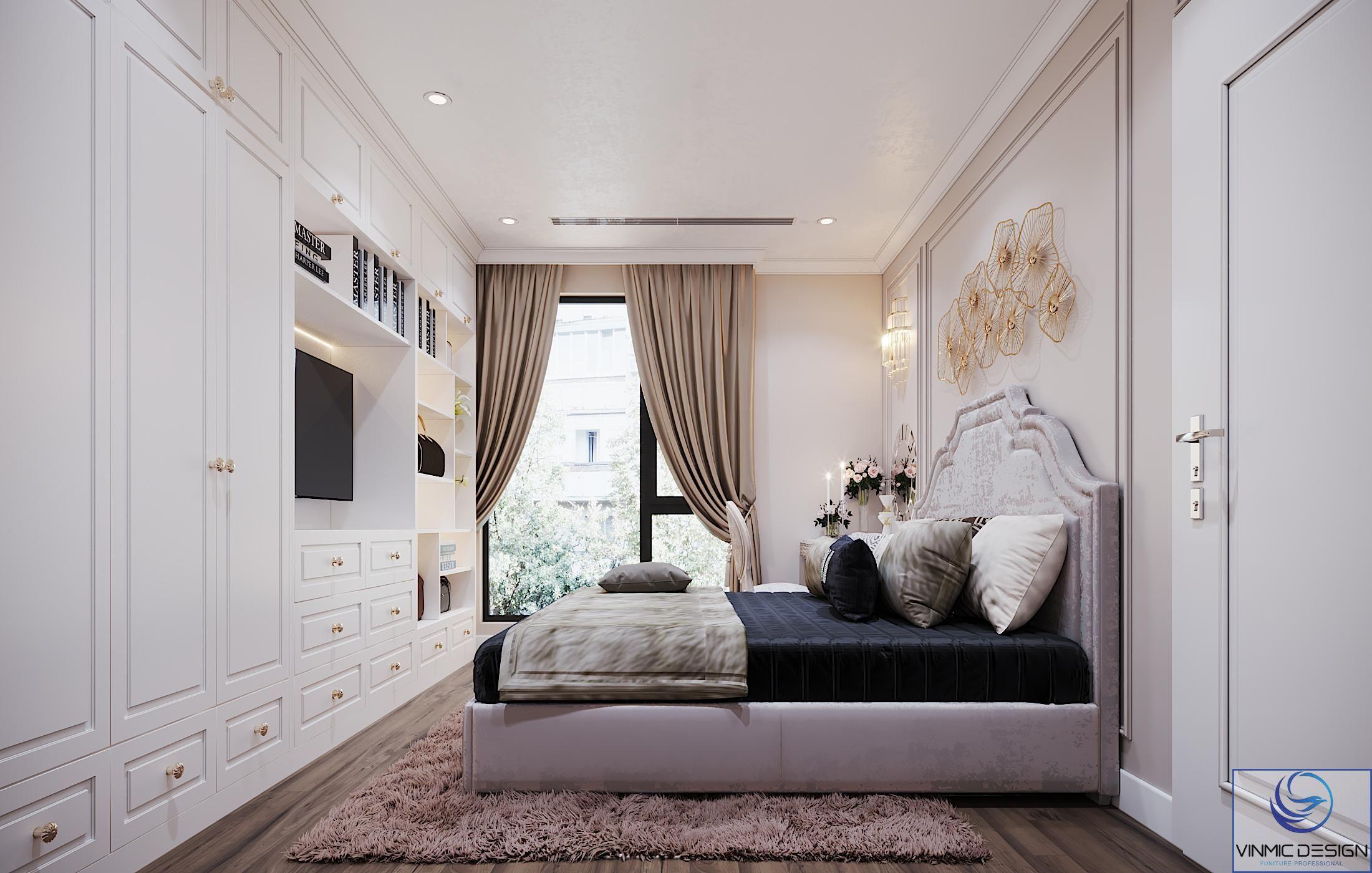 Giường được bọc nỉ tạo nên sự ấm áp.