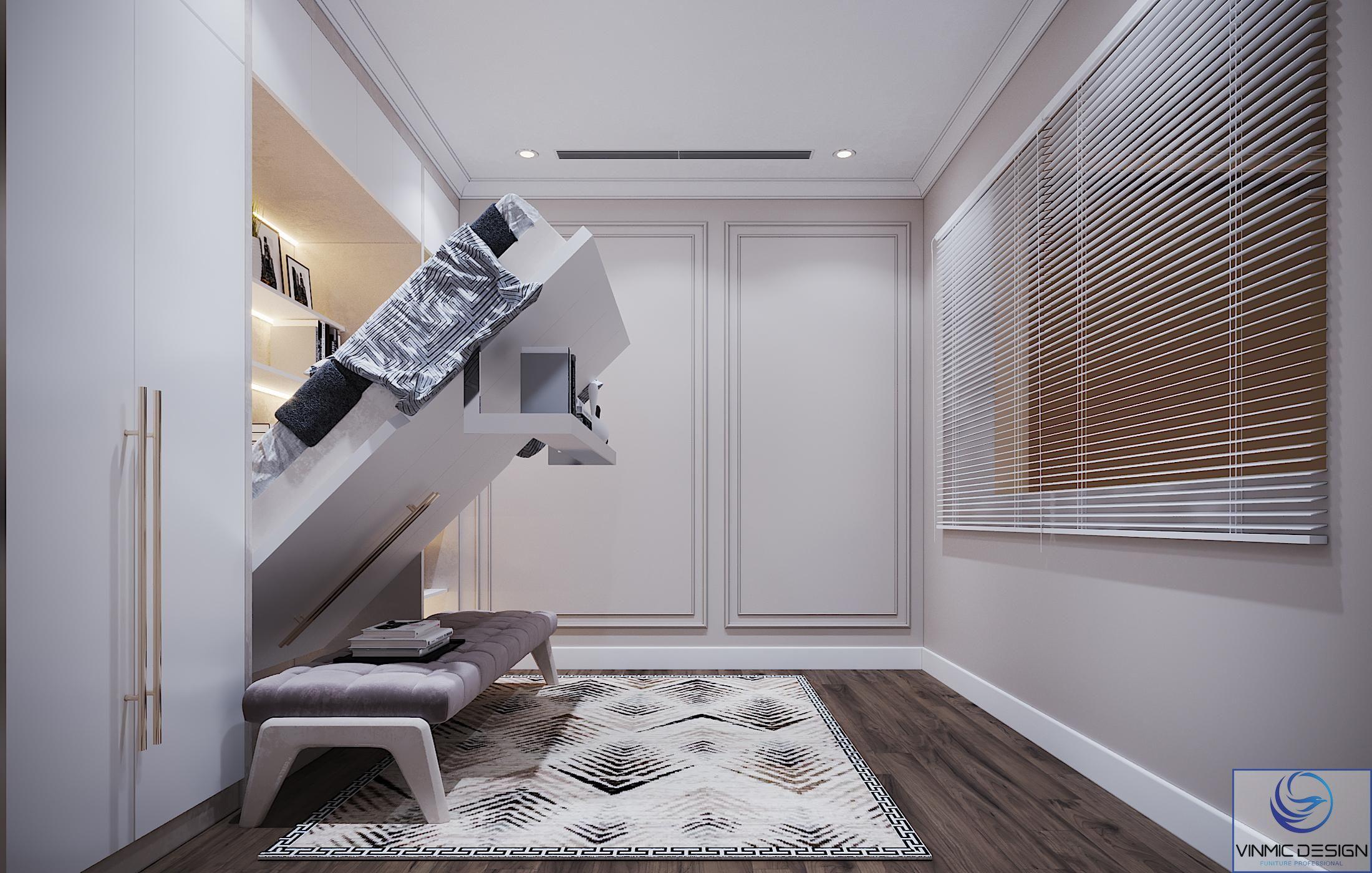 Kết hợp giường thông minh với tủ để đồ giúp tối ưu công năng của căn phòng.