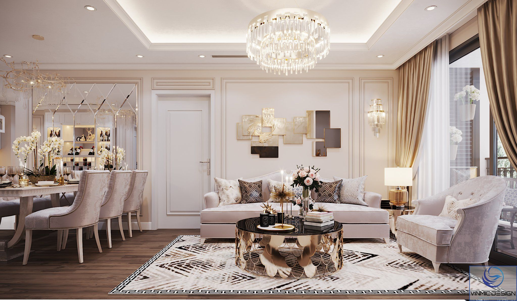 Thiết kế không gian phòng khách với tông màu vàng ấm