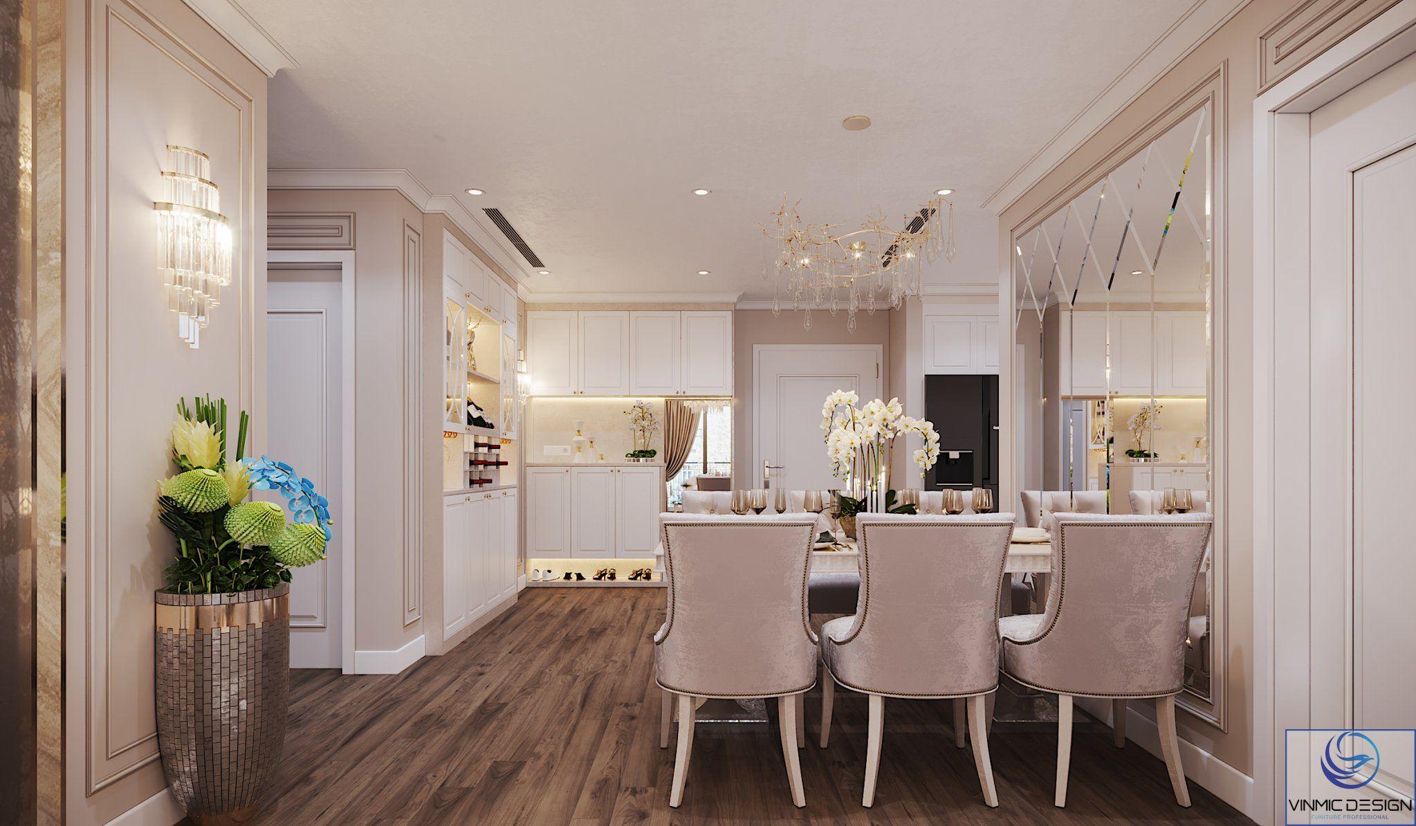Không gian phòng bếp được bố trí tối ưu với căn hộ.