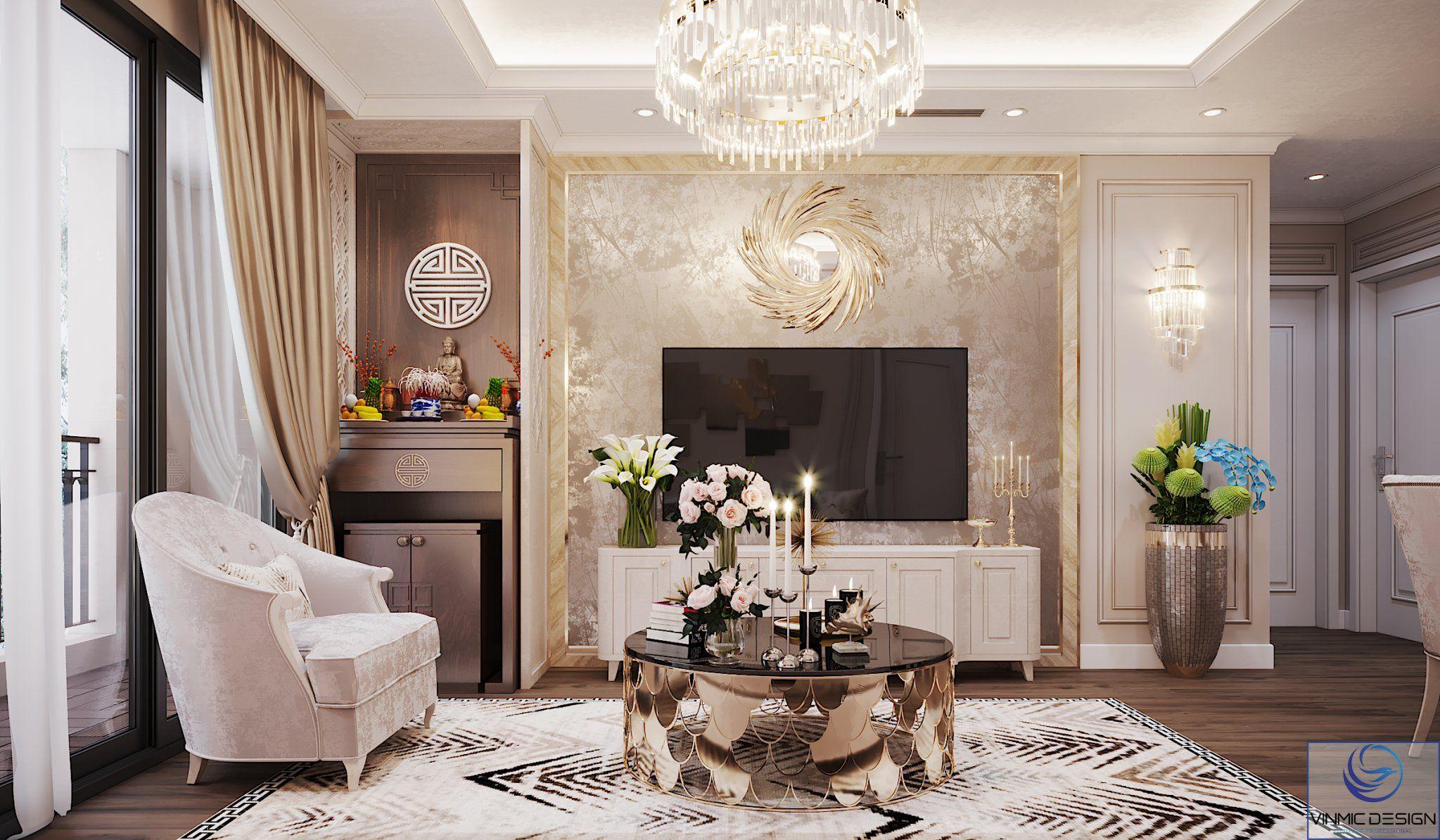 Thiết kế phòng khách tân cổ điển với đường nét cực đẹp
