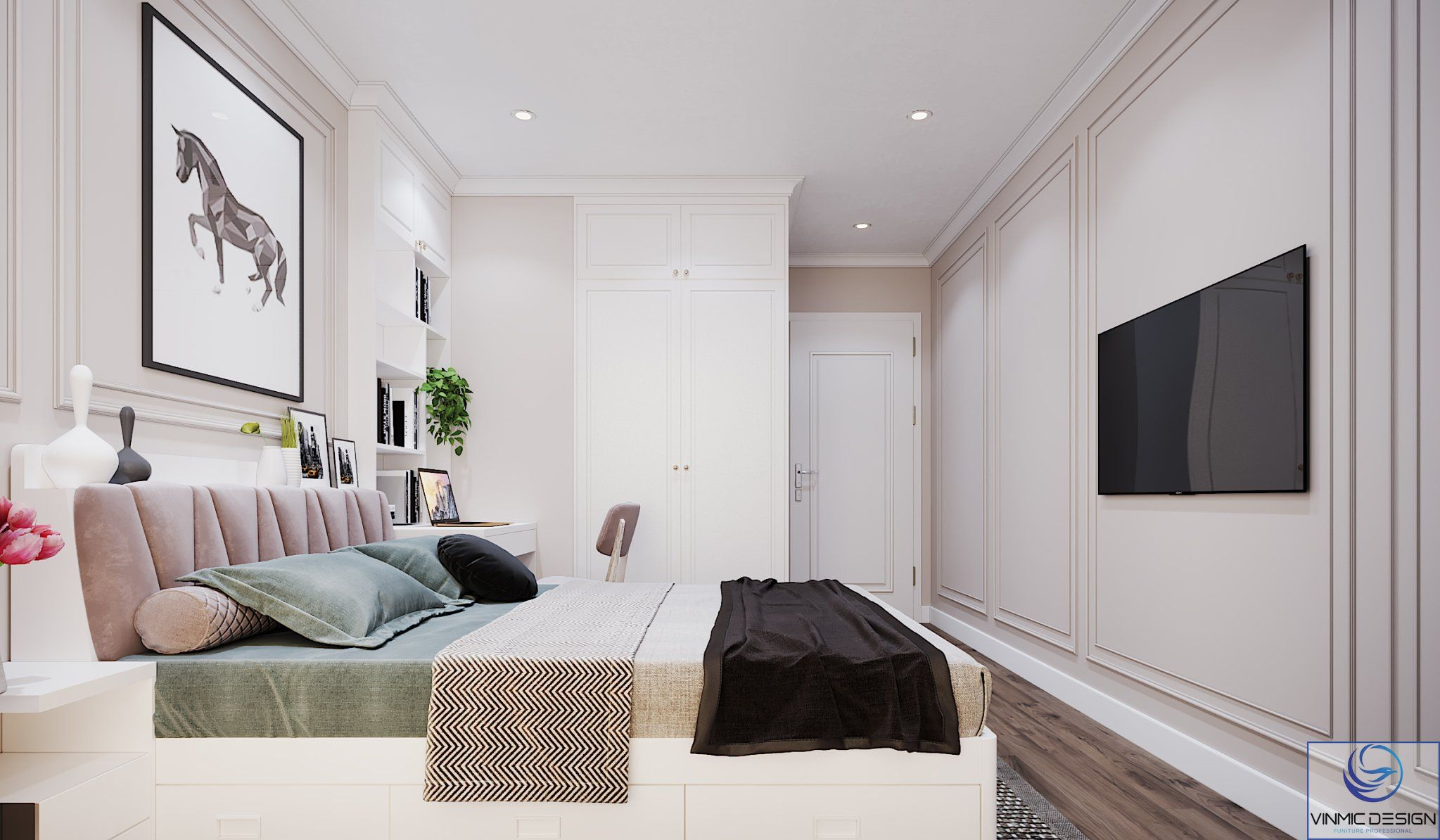 Phòng ngủ 1 được thiết kế đơn giản hơn nhưng không kém phần sang trọng.
