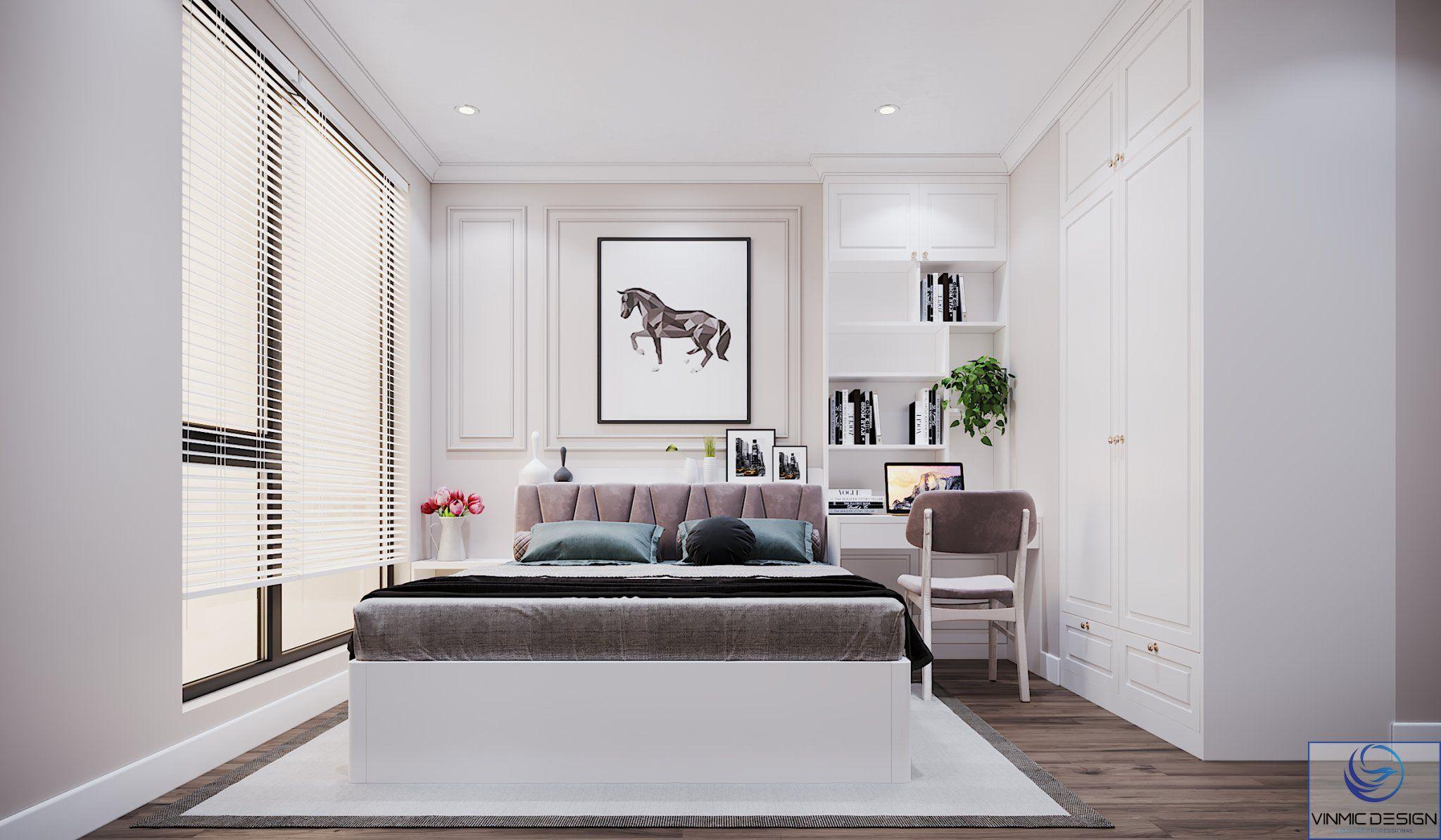 Bàn làm việc kết hợp tủ trang trí là điểm nhấn cho căn phòng.