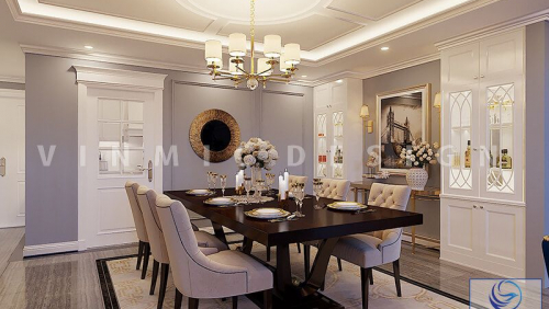 Thiết kế nội thất phòng bếp phong cách tân cổ điển tinh tế