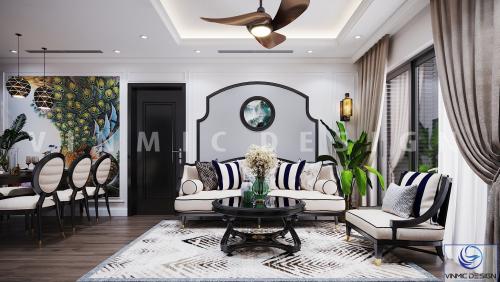Thiết kế nội thất chung cư Vinhomes Metropolis phong cách Á Đông.