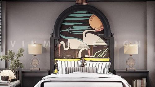 Mẫu thiết kế nội thất phòng ngủ Á Đông (Indochine) tinh tế