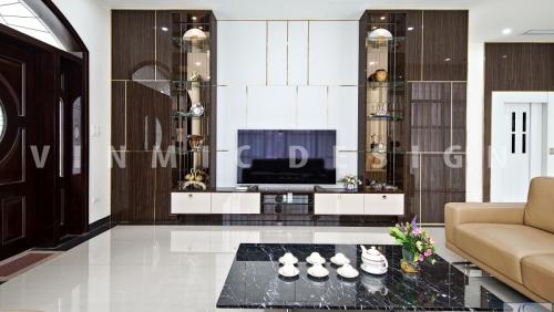 Các loại vách ốp tường trang trí nội thất phòng khách ấn tượng