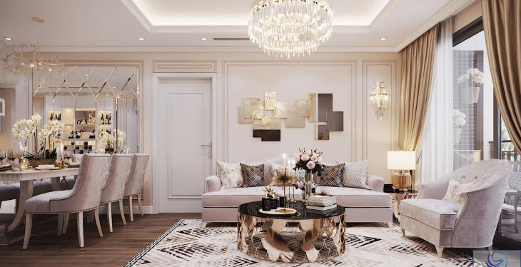 Thiết kế nội thất căn hộ chung cư phong cách tân cổ điển