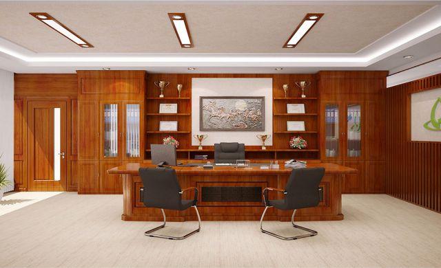 Vách gỗ được ốp vào các mặt tường rất nổi bật cho phòng giám đốc