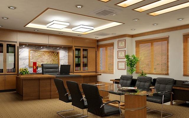 Phòng giám đốc được bố trí thêm bộ bàn ghế họp đầy tiện ích