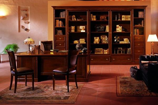 Bộ bàn ghế đơn giản và bộ tủ đựng tài liệu bằng gỗ tự nhiên