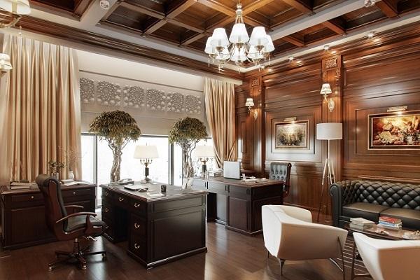 Bộ bàn ghế và ốp tường phòng giám đốc đều làm từ gõ đỏ tự nhiên