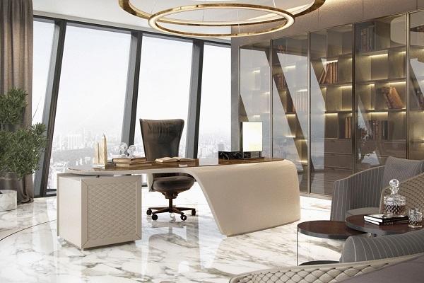 Thiết kế  phòng giám đốc phong cách hiện đại với tủ tài liệu bằng nhôm kính