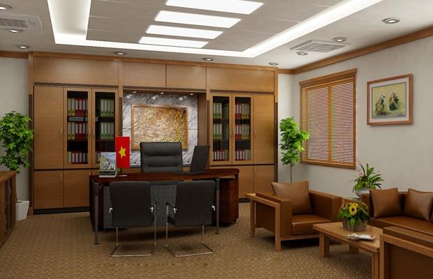 Thiết kế phòng giám đốc với tủ để tài liệu ấn tượng
